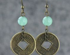 Jade and antique coin hoop earrings Bridesmaids gifts Free US Shipping handmade Anni Designs Handmade.