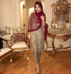 red and gold desi clothes Pakistani Wedding Outfits, Bridal Outfits, Pakistani Dresses, Indian Dresses, Indian Outfits, Bridal Dresses, Anarkali Dress, Party Dresses, Formal Dresses