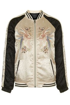 Sateen Embroidered Bomber - Jackets & Coats - Clothing - Topshop Europe