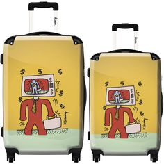 iKase 'Pop Art Keith Haring TV Multicolors' 2-piece Fashion Harside Spinner Luggage Set