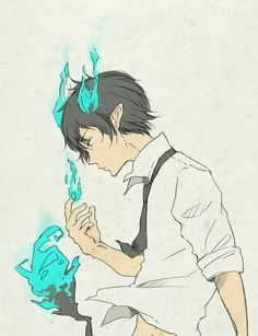 Okumura Rin, blue flames, flames of Satan, sad; Blue Exorcist