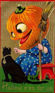 Halloween Postcard Barton Spooner 7107 JOL Head Girl w Broom Black Cat Retro Halloween, Spooky Halloween, Fröhliches Halloween, Vintage Halloween Images, Halloween Prints, Halloween Pictures, Holidays Halloween, Vintage Holiday, Halloween Costumes