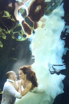 "Underwater mermaid bride client testimonial: ""That's what Del Sol does. They create an unforgettable experience and then magically transform it into pictures. We personally encourage everyone to do it."" – Serge""  When brides go underwater they turn into angels! That's why we love cenote trash the dress sessions. It's amazing the transformation to the exquisite @jlmcouture Hayley Paige Bridal wedding dress underwater."