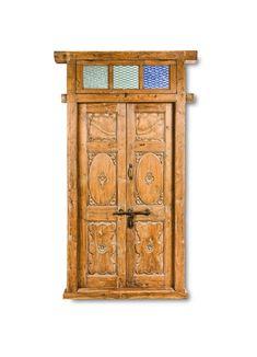 Antique Door with Mirrored Skylight - Fama Design Corp. Vintage Doors, Antique Doors, Entry Doors, Wood Doors, Indian Doors, Mirror Door, Skylight, Highlight, Hardwood