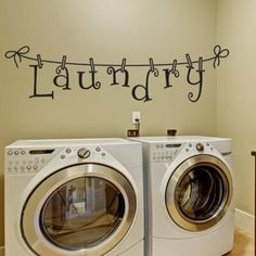 Winston Porter Laundry Room Decal Size: 6 H x 18 W Laundry Room Decals, Laundry Decor, Laundry Room Signs, Vinyl Wall Decals, Wall Stickers, Room Paint, Decorating Blogs, Cool Walls, Vinyl Designs