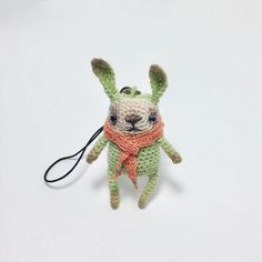 Crochet mint bunny with coral scarf amigurumi bunny bag от LozArts