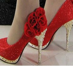 Hot red and gold glittery heels.  Stylish Eve