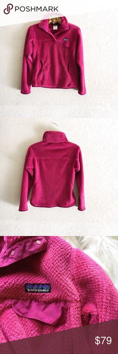 Patagonia Re-Tool Snap T Fleece Pullover Deep-pile 100% polyester fleece (51% recycled) has extra-long fibers to retain warmth Stand-up collar has doubled fleece for warmth; front placket hides the 4-snap closure and is reinforced with nylon Yoke and princess seams add contouring and shape Brushed-polyester microfleece trim on cuffs and hem Nylon chest-pocket flap with stay-put envelope construction Kangaroo-style handwarmer pocket Hip length Patagonia Jackets & Coats