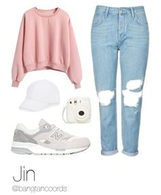 Pink sweater jeans white shoes