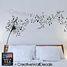 Wall Decal Vinyl Sticker Decals Art Decor Design Dandelion Music Note Nature Plants Botanic Grass Forest Bedroom Living Room Nursery (r640)