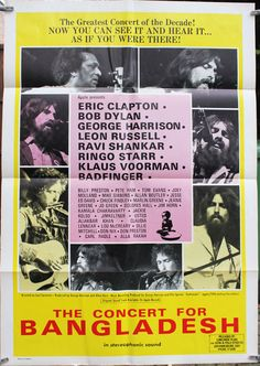 Concert for Bangladesh 1 sheet - George Harrison Bob Dylan Eric Clapton music