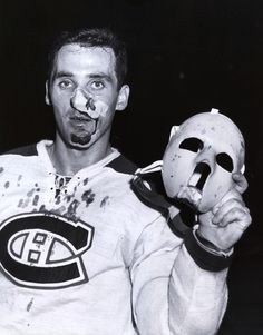 Jacques Plante of the Montreal Canadiens Hockey Goalie, Hockey Teams, Montreal Canadiens, Boston Bruins Hockey, Goalie Mask, Good Old Times, St Louis Blues, Masked Man, Hockey Players