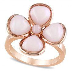 Bezel Set Pink Opal Flower Fashion Ring in .925 Sterling Silver 5.75ct  - Allurez.com