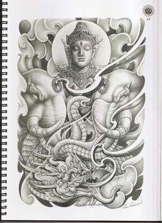 Khmer Tattoo, Thai Tattoo, Thailand Tattoo, Thailand Art, Dragon Tattoo Colour, Dragon Eye Drawing, Tricep Tattoos, Cambodian Art, Sak Yant Tattoo
