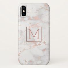 faux gold monogram on pink marble stone iPhone x case - monogram gifts unique design style monogrammed diy cyo customize