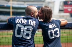 Soccer jerseys instead with our wedding date- 08 09. Awesome engagement picture ideas!
