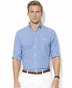 Polo Ralph Lauren Shirt, Classic-Fit Long-Sleeve Mini-Checked Poplin Sport Shirt