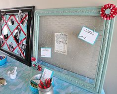 Just a frame (spray painted in wedding colors) & chicken wire make a nice display for cards, gift cards, etc at a shower. You could use smaller chicken wire and frames to display jewelry or accessories.