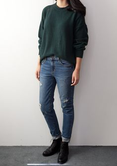 green sweater & jeans