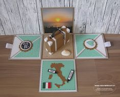 Gift Box Italy Travel Suitcase Coupon Explosion Box Surprise Box Holidays - All About Travel Box, Travel Gifts, Diy Gifts For Friends, Gifts For Kids, Diy Surprise Box, Card In A Box, Exploding Gift Box, Diy And Crafts, Paper Crafts