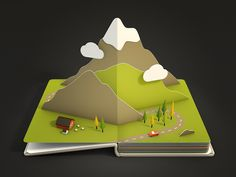 Mountains - 2D in 3D world style with some texture and shading.