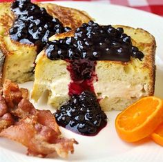 Honey and Cream Cheese Stuffed French Toast with Blueberry Sauce