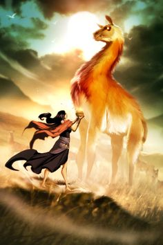 Yastay llama- Incan myth: a giant llama that protects llama and guanaco herds. It can be a protector of poor hunters but it could also be a ruthless judge of those who hunt without need. To those it burns with its eyes with a heat that is equal to the sun.