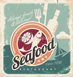 cartel vintage para restaurante de mariscos. Fondo de papel viejo vector retro con pescado y comida. antiguo usanza diseño gráfico