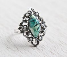 Vintage Green Stone Filigree Ring - Signed Sarah Coventry 1970s Faux Seed Pearl Silver Tone Adjustable Costume Jewelry / Marbled Marquise by Maejean Vintage on Etsy, $16.00
