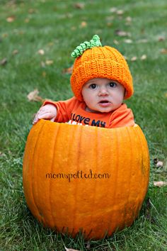 Sawyer in a pumpkin with a crochet pumpkin hat made the perfect fall photo. #infant #autumn #baby #photography