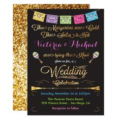 Shop Mexican Wedding Fiesta Gold Glitter invitations created by McBooboo. Mexican Wedding Invitations, Wedding Rehearsal Invitations, Glitter Wedding Invitations, Elegant Invitations, Elegant Wedding Invitations, Invitation Ideas, Invites, Gold Glitter Wedding, Bachelorette Party Planning
