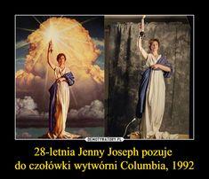 Jenny Joseph pozuje do czołówki wytwórni Columbia, 1992 – Jenny Joseph, Mermaid Movies, Dramatic Music, Columbia Pictures, Latte Art, Disney Fan Art, Movie Tv, Real Life, Fun Facts