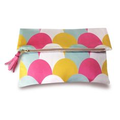 GELATISSIMO FABRIC CLUTCH BAG WITH LEATHER TASSEL by Mimsy Design