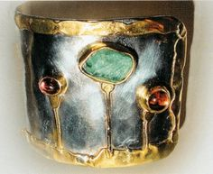 silver and 22k gold cuff by Michele Delville
