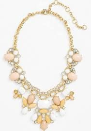 Lee by Lee Angel 'Capri' Bib Necklace White Multi/ Clear/ Gold.  The neutrals are on trend.