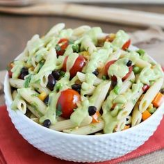 Southwest Pasta Salad - Easy, healthy and full of Mexican flavors! Tossed in a delicious and creamy avocado lime dressing. Healthy Pasta Salad, Easy Pasta Salad, Chicken Wing Recipes, Pasta Recipes, Cooking Recipes, Hot Wassail Recipe, Mexican Pasta, Creamy Avocado Dressing, Whole Wheat Pizza