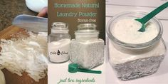 Homemade Natural Laundry Powder, No Borax - This two-ingredient recipe makes about 40 loads of laundry powder. OddsandEvans.com