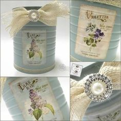 Shabby Chic Style Recycled Tin Can