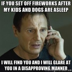 As a father with children and dogs, I do not look forward to the Fourth of July.   Meme Generator Liam Neeson, What Do You Mean, Know Who You Are, Look At You, Benedict Cumberbatch, Fandoms, Chuck Norris, Dr Who, Muay Thai