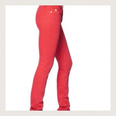 Red low rise fitted stretchy jeans In mint condition. 2 front 2 back pockets. Size 5 which fits like a 25 waist. Celebrity Pink Pants