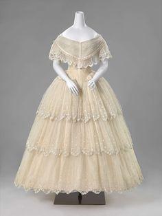 1850-1856, the Netherlands - Evening dress - Silk, satin, tarlatan, tulle, cotton