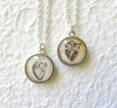 Anatomical Heart Double Sided Petite Necklace. $20.00, via Etsy.