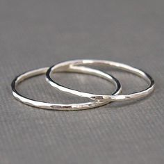 Thin Sterling Silver Rings set of two bands , Hammered Rings , Hammered Silver on Etsy, $16.50