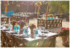 Mexican themed wedding  Layout of how i will do tablescape also instead of trees or not as many trees tercotta potted plants all around would help bring in that theme i was looking for