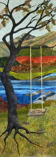 """Waiting"" by Eileen Williams;  landscape art quilt."