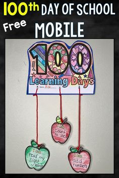 This adorable 100th Day of School Mobile is FREE! Students just add what they can do now after 100 Days of school, color, cut and paste.