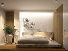 soothing... unique bedroom design | marble platform bed + love that 'light ball' nxt to bed