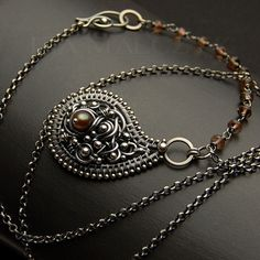 the Caramel-Taupe Paisley necklace