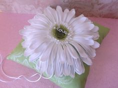 Lime Green Damask Daisy Wedding Ring Pillow by creations4brides
