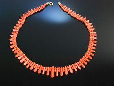 Antique Art Déco Coral Necklace! Kette aus Sardegna Koralle, Italien um 1825